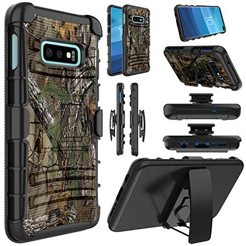 Galaxy S10e Case, Elegant Choise Hybrid Shockproof Heavy Duty Full Body Protective Rugged Holster Case Cover with Kickstand and Swivel Belt Clip for Samsung Galaxy S10e(Camouflage)