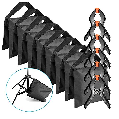 (Neewer 8-Pack Heavy Duty Sandbag (Black) for Photo Studio Light Stands Boom Arms with 6-Pack Muslin Backdrop Spring Clamps Clips (Empty)