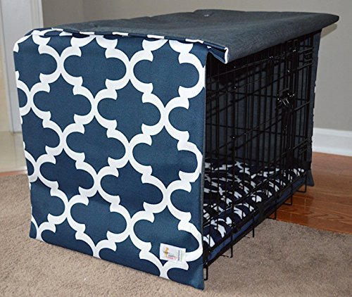 Happy Dog Happy Home Navy Lattice Crate Cover for Dogs (XXL)