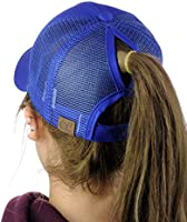 C&C Ponycap Messy High Bun Ponytail Adjustable Mesh Trucker Baseball Cap Hat