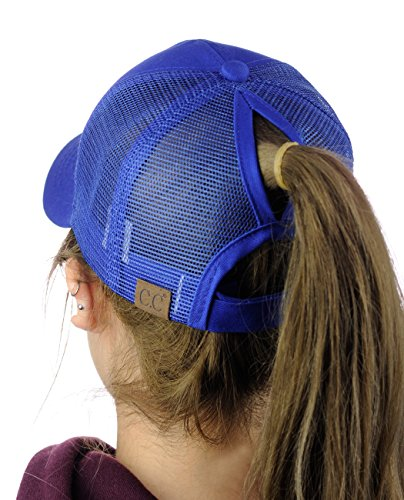C.C Ponycap Messy High Bun Ponytail Adjustable Mesh Trucker Baseball Cap Hat, Royal
