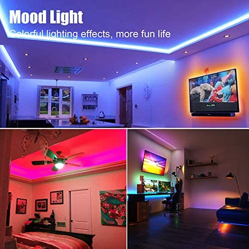 PANGTON VILLA Led Strip Lights 65.6 feet for Bedroom, Room RGB Color package with Remote and Power Supply