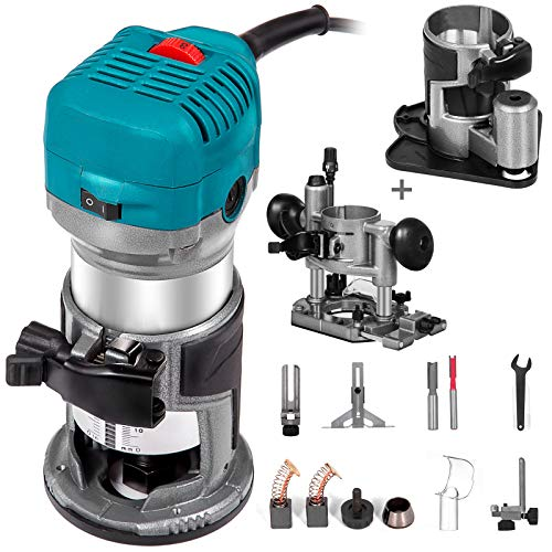Mophorn 1.25HP Compact Router Kit Max Torque 30,000RPM Variable Speed Router With Fixed Base, Plunge Base and Offset Base For Woodworking & Furniture Manufacturing