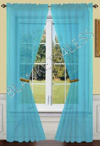 Jenin 2 Piece Solid Turquoise Sheer Window Curtains Drape Panels Treatment 55quot