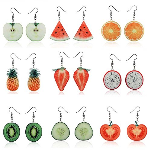 Fashion Drop Dangle Earrings Sets,Trendy Statement Creative Funny Cute Acrylic Fruit Earrings Sets For Women Girls ()
