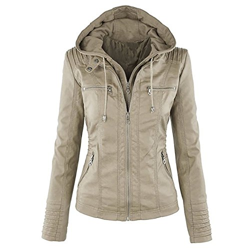 Faux Hooded Fashionable Women's Leather Moto Zip Detachable Jackets Abricot Zipper Removable Outerwear Coat LooBoo 8BqCC5