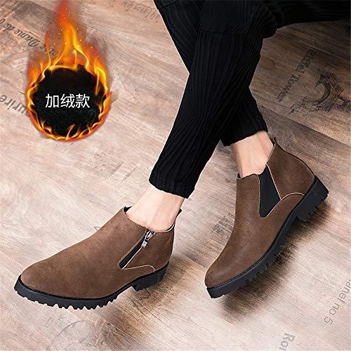 Forro Warm Tobillo Moda De Convenc Decoración Estilo Hombres Yajie Contraídas Superior Británico Botas Polar Brown boots opcional Cremallera Con Zapatos Para qHx6w8t1