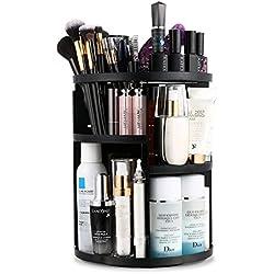 Jerrybox 360 Degree Rotation Makeup Organizer Adjustable Multi-Function Cosmetic Storage Box, Large Capacity, 7 Layers, Fits Toner, Creams, Makeup Brushes, Lipsticks and More (Black)