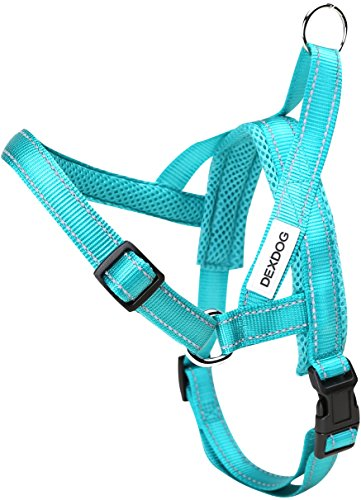 DEXDOG #1 Best Dog Harness — EZHarness On/Off Walk in Seconds! [Turquoise X-Large XL] — Easy Quicker Step in Dog Harness Vest — Puppy No Pull Reflective Mesh Handle Adjustable ()