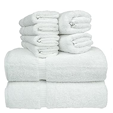 Luxury Hotel & Spa Bath Towel Set Turkish Cotton Towel Bundle Total 8-Piece Set, 2 Bath Towel 27 X54  , 2 Hand Towel 16 X30  , 4 Washcloth 13 x13 , Set of 8 (White)
