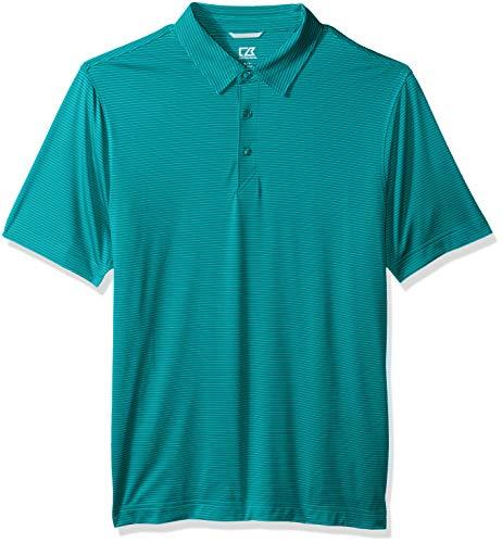 (Cutter & Buck Men's Moisture Wicking Pinstripe Prevail Short Sleeve Polo Shirt, Aquatic, XXLarge)