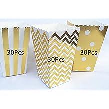 ASIBT 90Pcs Popcorn Boxes,Popcorn Favor Boxes Cardboard Candy Container,Gold Wave Pattern(30pcs), Stripe(30pcs) and Polka Dot(30pcs)