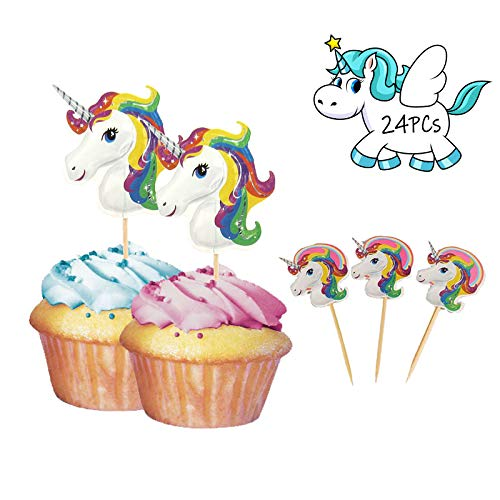 WIXDROD Unicorn Cupcake Topper-Cupcake Toppers-Double Sided Kids Party Cake Decorations-Birthday Party Decorations Wedding Party Supplies-24pcs/Pack (Style One)