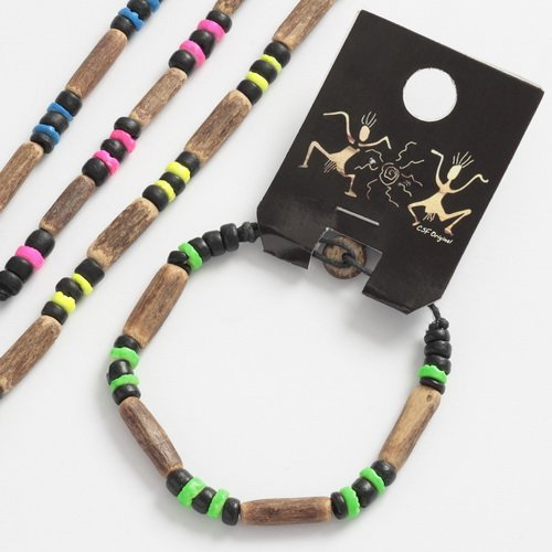 Talbot Fashion Children's Gift Wooden Shell And Wood Neon Bracelet
