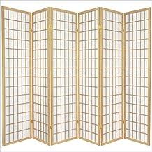 Oriental Furniture Asian Furniture, 6-Feet Window Pane Japanese Shoji Privacy Screen Room Divider, 6 Panel Natural by Oriental Furniture