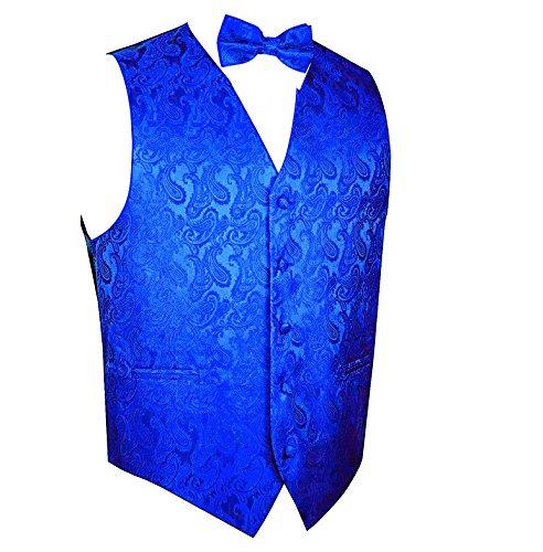 Paisley Vest Bow Tie Set-New Royal Blue-L (Bow Vest)