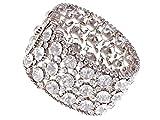 Alilang Chunky Statement Silver Shiny Crystal Rhinestone Fashion Bracelet Bangle Cuff