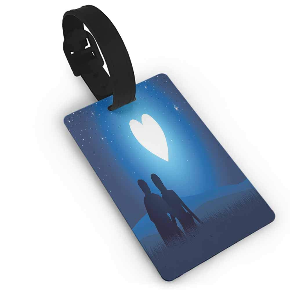 Travel luggage tag,Romantic,Silhouette of a Couple Sitting in front of Heart Shaped Moon Night Out,Suitcase Travel ID Bag Night Blue Black White