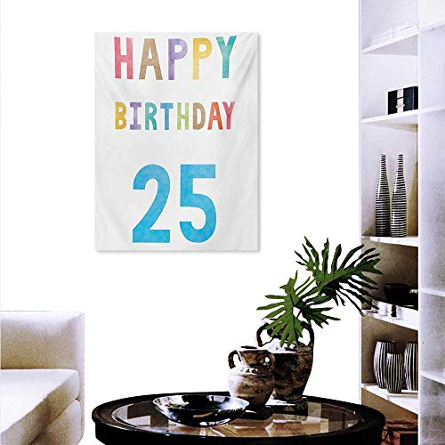 """Mannwarehouse 25th Birthday Art Stickers Vivid Pastel Watercolor Letters on White Backdrop Number Twenty Five Print Ready to Hang Home Decorations Wall Decor 32""""x36"""" Multicolor"""