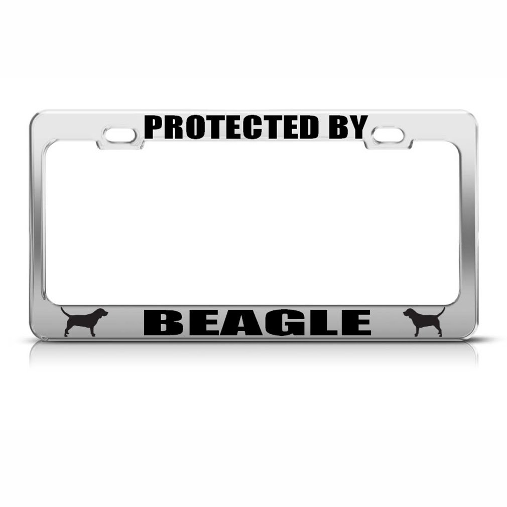 Beagle Hund Hunde chrom Nummernschild Rahmen Tag Bordüre: Amazon.de ...