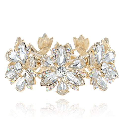 SP Sophia Collection Women's Flower Blossom Glass Stone Fashion Stretch Bracelet in Clear