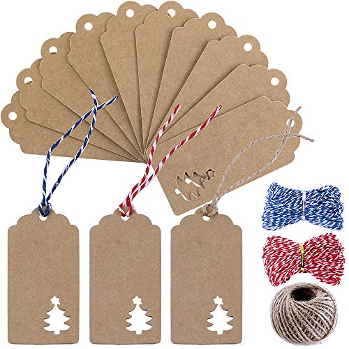 (Supla 100 Pcs Favor Tags Gift Tags Table Name Tags Place Card Blank Christmas Hang Tags Kraft Paper Tags Thank You Tags with Natural Jute Twine Blue Red Twine )