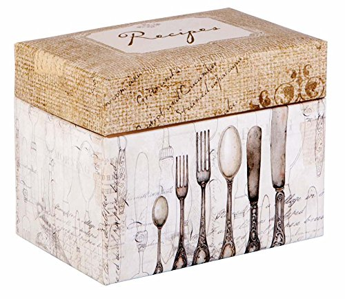 C.R. Gibson Recipe File Box with Cards, 4 by 6-Inch, Perfect Setting