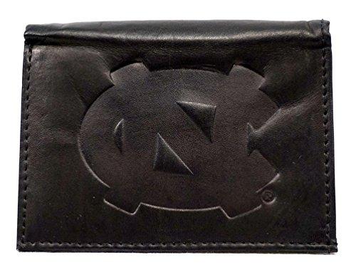 North Carolina Black Leather - NCAA North Carolina Tar Heels Tri-Fold Leather Wallet, Black