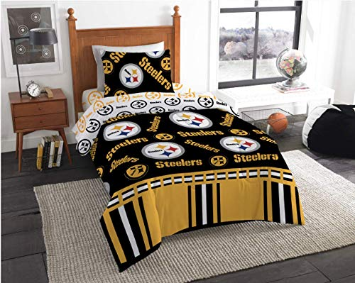 Pittsburgh Steelers NFL Twin Comforter & Sheet Set (4 Piece Bed in A Bag) + Homemade Wax Melts