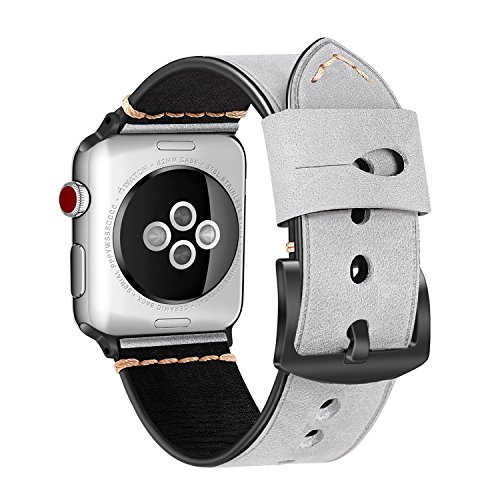 For Apple Watch Band 38mm, Fintie Vintage Genuine Leather iWatch Strap Replacement Bands with Stainless Metal Clasp for 38mm Apple Watch Series 3 / 2 / 1 Sport and Edition - Moon Mist (Distressed Leather Series)
