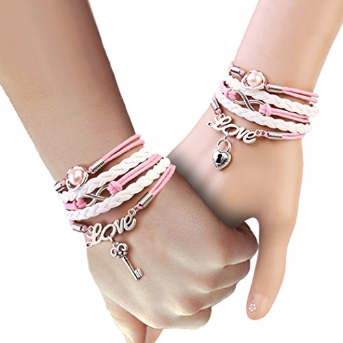 Red Dandelion Romantic Pink Love Key Lock Lovers Braided Bracelet (Deluxe Frankie Mask)