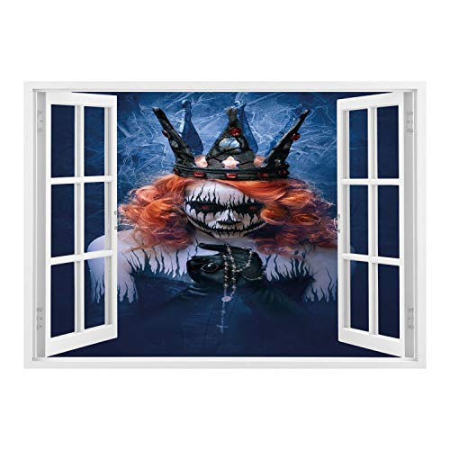 SCOCICI Peel and Stick Fabric Illusion 3D Wall Decal Photo Sticker/Queen,Queen of Death Scary Body Art Halloween Evil Face Bizarre Make Up Zombie,Navy Blue Orange Black/Wall Sticker Mural