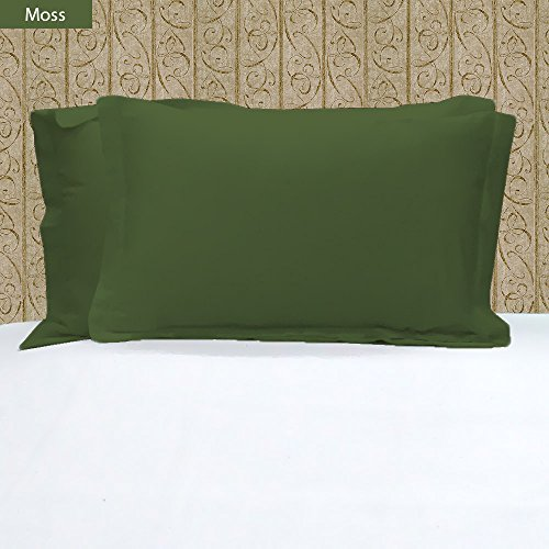 Stylish Bedding 400 Thread Count 2 Pc Pillow Shams 100% Egyptian Cotton Solid Pattern Colors (Standard, Moss)