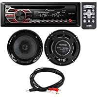 Pioneer DEH-150MP Single DIN Car Stereo With MP3 Playback+ Kenwood KFC-1665S 6.5 New 300W 2-Way Car Audio Coaxial Speakers Stereo + Male 3.5 mm to RCA cable