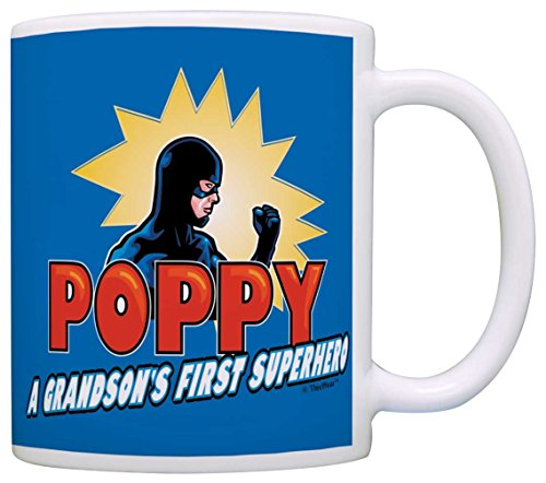 [Fathers Day Gifts for Grandpa Poppy Grandson's First Superhero Comics Gift Coffee Mug Tea Cup Blue] (Easy To Make At Home Superhero Costumes)