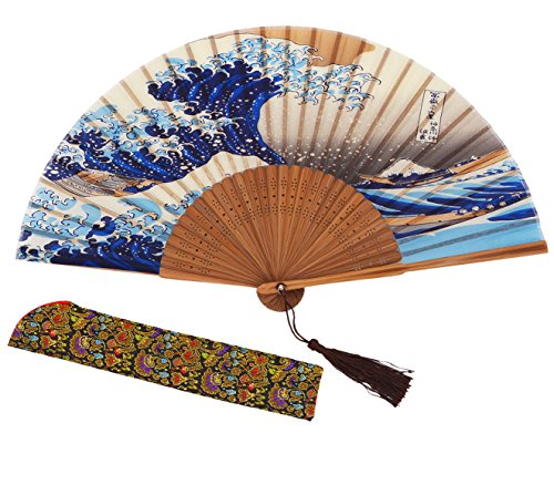 meifan Chinese/Japanese Handmade Handheld Folding Fan (Sea Wave)]()