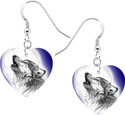 Body Candy Stainless Steel Heart Moon Howling Wolf Earrings