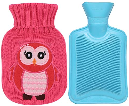 Premium Classic Rubber Hot Water Bottle and Cute Pattern Embroidery Knit Cover (350ML, Blue Bottle/Pink Owl)