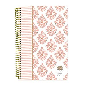 "bloom daily planners Bound To-Do List Book - Planning System Tear Off To Do Pads - UNDATED Daily Planner To Do Pad 6"" x 8.25"" - Pink & Gold"