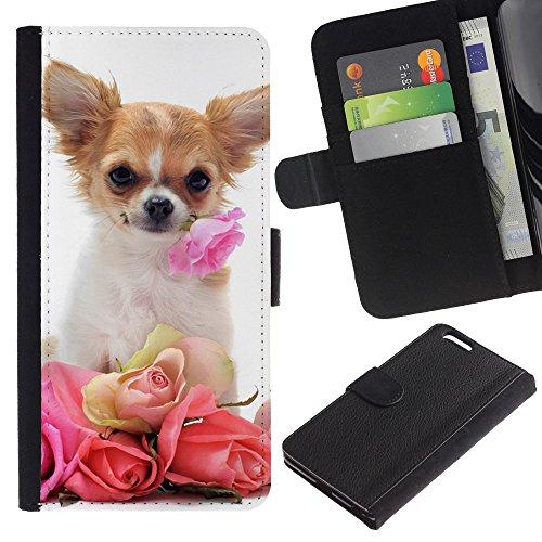 EuroCase - Apple Iphone 6 PLUS 5.5 - Chihuahua roses valentine dog pet - Cuero PU Delgado caso cubierta Shell Armor Funda Case Cover