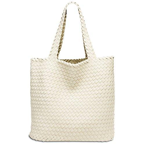 en Beige épaule CASPAR sac sac tressé XXL réversible 2 femme TS1059 Grand Doré 1 pour shopping porté YqqpwZTR
