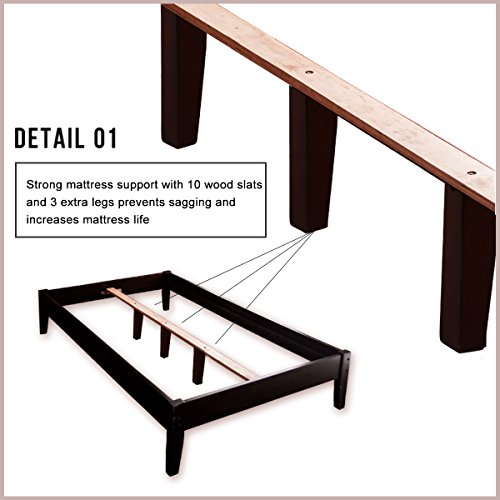 Merax Wood Platform Bed Frame Mattress Foundation with Wooden Slat Supports(Twin, Espresso)