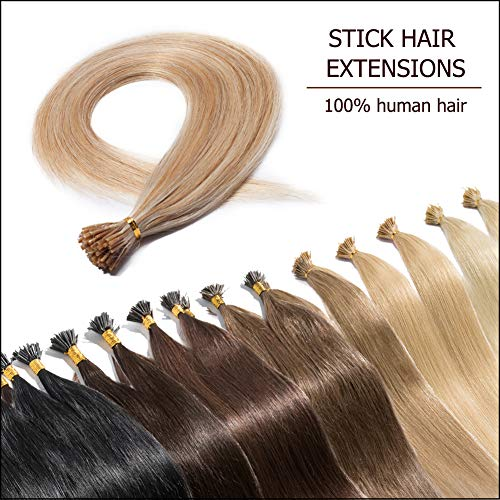 "100 Strands I Tip Hair Extensions Human Hair Highlighted Ash Blonde mixed Bleach Blonde 20 Inch Soft Straight Remy Hair Pre Bonded Stick Shoelace Tips—20"", 18&613, 50g ()"