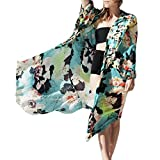 GBSELL Women's Hippie Boho Print Shawl Kimono Cardigan Cover up Blouse (L, Multicolor)