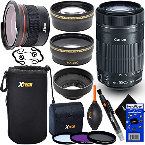 Canon EF-S 55-250mm F4-5.6 is STM Lens for Canon SLR Cameras (International Version) + Fisheye Lens + Telephoto & Wide Angle Lenses + 3pc Filter + 7pc Accessory Kit w/HeroFiber Cleaning Cloth (High Definition 0-43 X 58mm Wide Angle Lens)