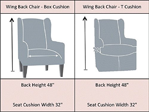 Tailor Fit Stretch Fit Micro Suede Slipcover Furniture Protector for Wingback Chair, Grey by Tailor Fit (Image #1)