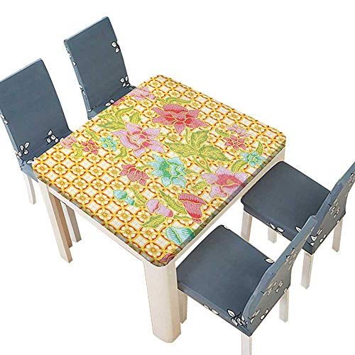 (PINAFORE Fitted Polyester Tablecloth  Indonesian Batik Pattern Flowers on Bound Tied Floral Background Retro Home Multi Washable Tablecloth 29.5 x 29.5 INCH (Elastic)