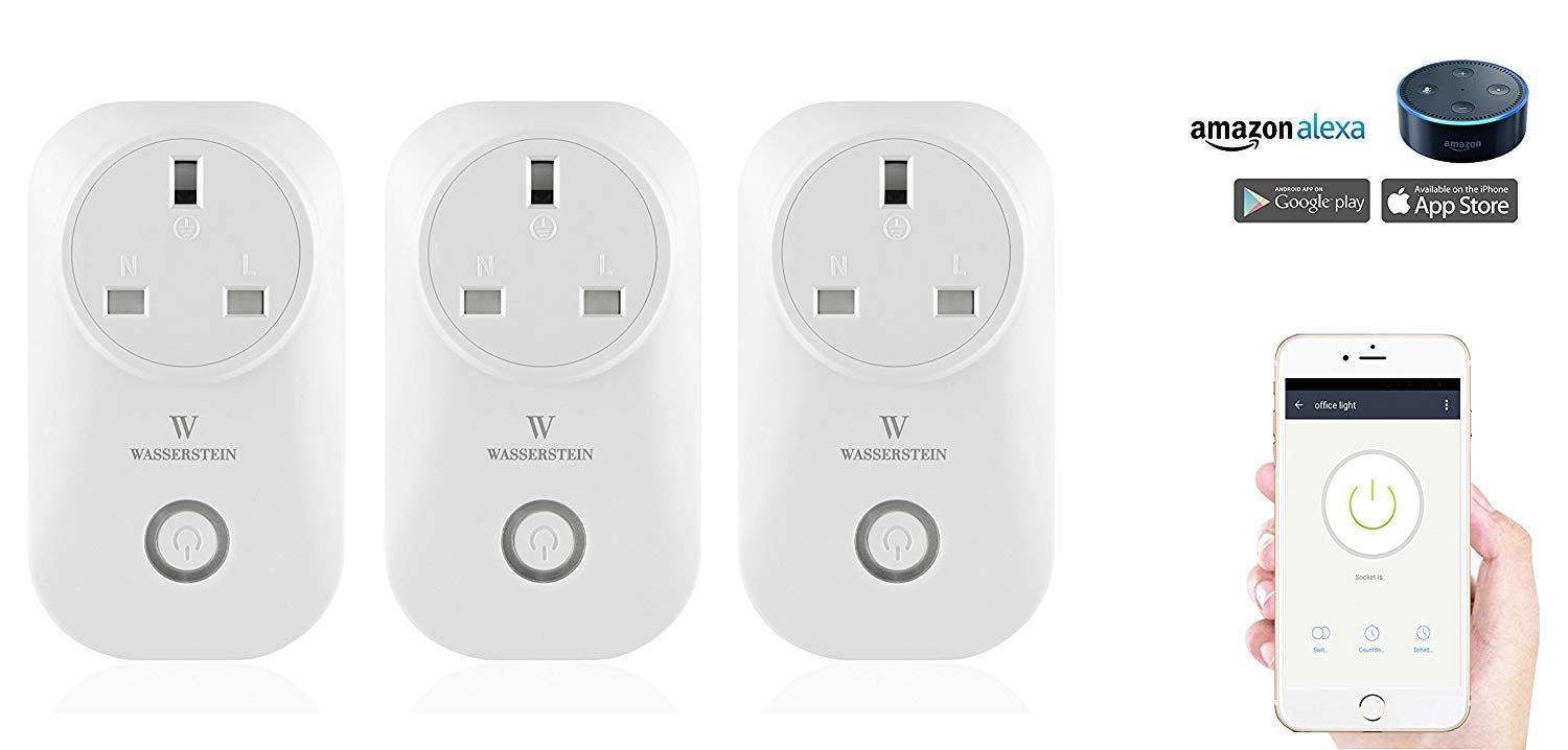 New Smart Home Smart Plug by Wasserstein works with Alexa for your Smart Home, Wi-fi control all your Devices Wherever you are; No expensive hub required, Simple Plug & Play Smart Socket (Plug,3 Pack)