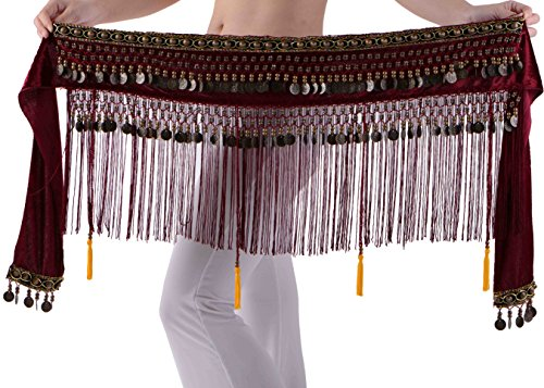 Belly Dance Hip Scarf Gypsy Wine XS S M L XL (Turkish Hip Scarves)