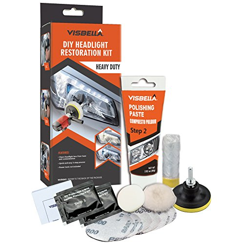Visbella DIY Headlight Restoration Kit Renewal with Protectant Fix Remove Buffer and Polish Cloudy Lights Taillights Fog Lights Directional Lights, Clear - Headlight Lens Cleaning